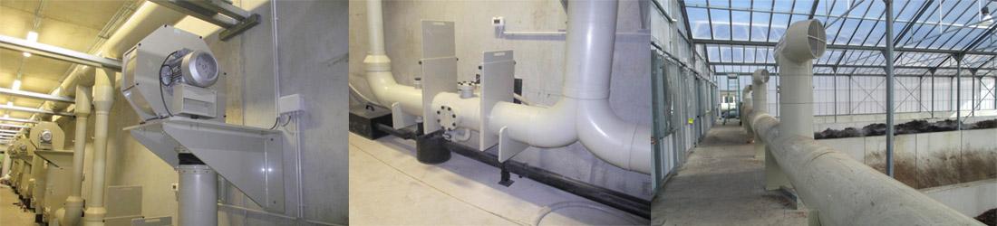 Réseau de ventilation d'une station de compostage