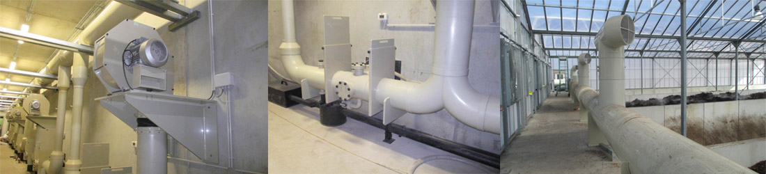 Ventilation network of a composting station